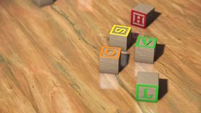 Blocchetti di alfabeto sul pavimento di legno illustrazione vettoriale