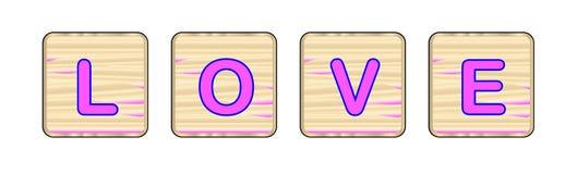 Blocchetti di legno di amore Fotografia Stock Libera da Diritti
