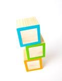 Blocchetti di legno in bianco di ABC Fotografia Stock