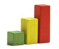 Blocchetti di legno dei giocattoli come barra aumentante del grafico Fotografie Stock Libere da Diritti