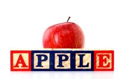 Blocchetti di legno di ABC e di Apple Fotografie Stock
