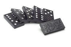 Blocchetti di legno neri di domino Fotografie Stock Libere da Diritti
