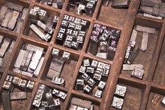 Blocchetti di stampa antichi dello scritto tipografico Immagine Stock