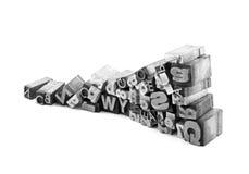 Blocchetti di stampa tipografica del metallo Fotografie Stock Libere da Diritti