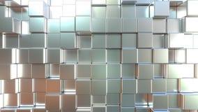 Blocchetti quadrati muoventesi del metallo opaco Fondo di moto dell'estratto di Loopable illustrazione di stock