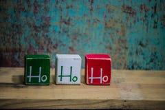 Blocchetti rustici di Natale di legno di Ho Ho Ho Fotografia Stock Libera da Diritti