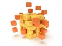 Blocchetto dei cubi. Concetto di montaggio. Su bianco. Fotografia Stock
