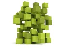 Blocchetto dei cubi di esplosione Concetto di montaggio Immagini Stock