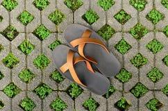 Blocchetto del mattone con erba e le scarpe. fotografia stock libera da diritti