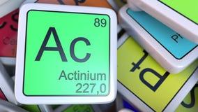 Blocchetto di CA dell'attinio sul mucchio della tavola periodica dei blocchetti degli elementi chimici rappresentazione 3d Fotografia Stock Libera da Diritti