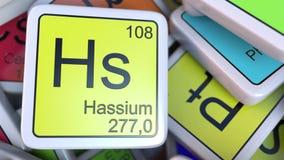 Blocchetto di Hs di hassio sul mucchio della tavola periodica dei blocchetti degli elementi chimici rappresentazione 3d Fotografia Stock