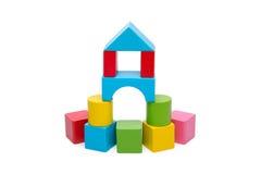 Blocchetto di legno ordinato del giocattolo immagini stock