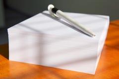 Blocchetto per appunti bianco con una penna Fotografia Stock