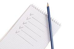 Blocchetto per appunti con la matita Immagine Stock
