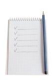 Blocchetto per appunti con la matita Immagini Stock