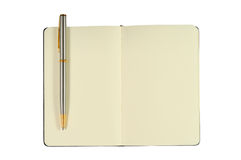 Blocchetto per appunti con le pagine in bianco e la penna Immagine Stock