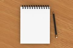 Blocchetto per appunti e matita nera Immagini Stock Libere da Diritti