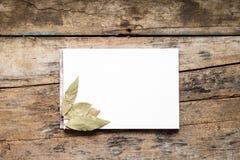 Blocchetto per schizzi bianco in bianco con la foglia di alloro su fondo di legno Fotografie Stock Libere da Diritti