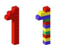 Blocchetto uno del giocattolo della fonte tipografica del pixel Immagine Stock