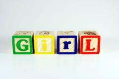 Blocchi che ortografano la ragazza Fotografie Stock