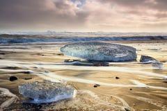 Blocchi di ghiaccio alla spiaggia del diamante Immagini Stock Libere da Diritti