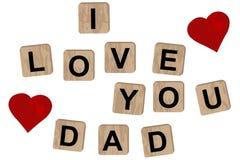 Blocchi di legno che compitano il papà dell'iscrizione ti amo royalty illustrazione gratis