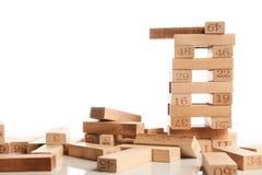 Blocchi di legno isolati su bianco Fotografia Stock