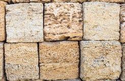 blocchi di primo piano dell'arenaria come struttura del fondo Copi lo spazio Fotografia Stock