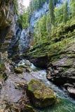 Blocchi di roccia nel letto di fiume del breitach Fotografie Stock