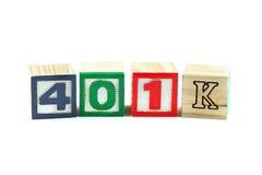 blocchi di testo di piano 401K Fotografie Stock Libere da Diritti