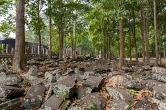 Blocchi e lastre di pietra nella giungla Angkor Wat cambodia immagine stock libera da diritti