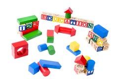 Blocchi e lettere di legno Fotografia Stock
