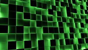 Blocchi illuminati verde che si muovono dentro e fuori illustrazione vettoriale