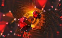 Blocchi informativi nel flusso di dati Grande concetto di dati Computer di Quantum Nanotecnologia del futuro illustrazione di stock