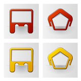 Blocchi per grafici allegati - pentagono e rettangolo Fotografia Stock