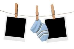 Blocchi per grafici in bianco della foto di famiglia della polaroid Fotografia Stock