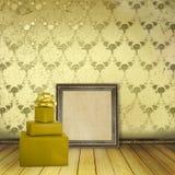 Blocchi per grafici di legno e presente nella vecchia stanza Immagine Stock