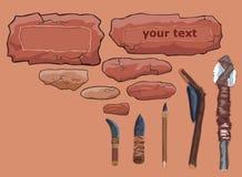 Blocchi per grafici di pietra e strumenti primitivi. Immagine Stock
