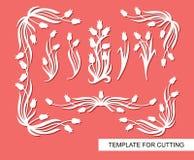 Blocchi per grafici floreali Angoli e confini con i tulipani e le foglie royalty illustrazione gratis