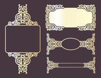 Blocchi per grafici ornamentali dorati Fotografie Stock Libere da Diritti