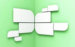 Blocchi per grafici rotondi bianchi in bianco sulla parete d'angolo Immagine Stock