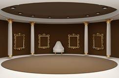 Blocchi per grafici vuoti dorati nello spazio dell'interiore del museo Fotografia Stock Libera da Diritti