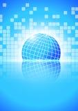 Blocchi quadrati astratti con il mondo su fondo blu illustrazione di stock