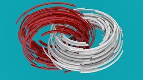 Blocchi rossi e bianchi che girano nei cerchi su fondo blu Rappresentazione astratta 3D delle forme geometriche Computer royalty illustrazione gratis