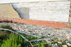 Blocco crollato di parete Fotografia Stock Libera da Diritti