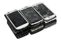 Blocco dai telefoni cellulari rotti Fotografia Stock