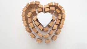 Blocco e carta di legno del cuore Fotografia Stock Libera da Diritti