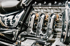 Blocco motore di Chrome del motociclo fotografia stock libera da diritti