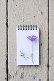 Blocco note in bianco e fiore viola sul fondo rustico di legno della plancia Fotografia Stock