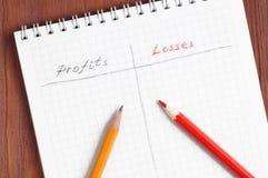Blocco note con le matite grige e rosse scritte a mano di profitti e di perdite, di parole che si trovano sopra lo strato di cart Fotografia Stock Libera da Diritti